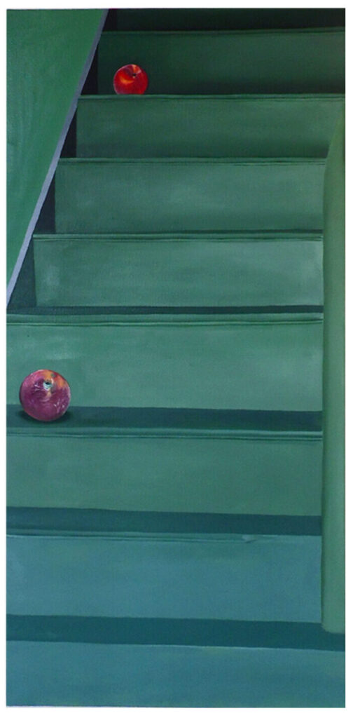 blue/ green staircase with two peaches with one on the top and one on the bottom