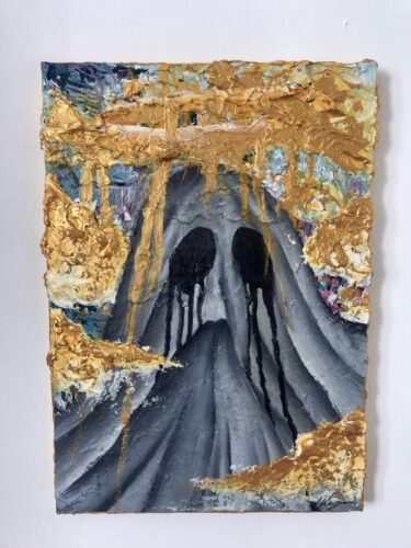 Sheet covered figure in praying pose with gold clouds